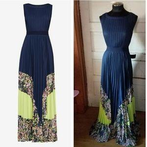Charlotte print- blocked gown by BcbgMaxazria